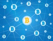 Fondo del azul de la red de Bitcoin stock de ilustración
