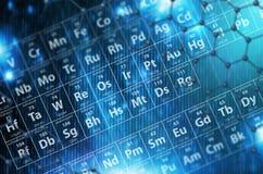 Fondo del azul de la tabla periódica Imagen de archivo libre de regalías