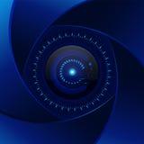Fondo del azul de la tecnología Lente ciánica de la abertura Diseño moderno v Imagenes de archivo