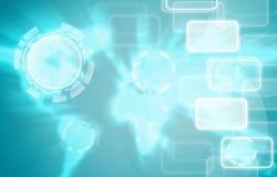 Fondo del azul del fondo del icono de la tecnología. Fotos de archivo libres de regalías