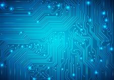 Fondo del azul del vector de la placa de circuito Fotografía de archivo