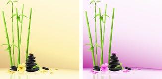 Fondo del balneario: piedras, flor, bambú ilustración del vector