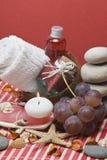 Fondo del balneario y uvas rojas. Foto de archivo