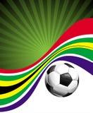 Fondo del balompié con la bola y el indicador africano