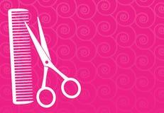 Fondo del Barbershop con le forbici ed il pettine Immagini Stock Libere da Diritti