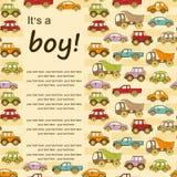 Fondo del bebé con los coches y con el lugar para el texto Foto de archivo libre de regalías