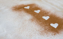Fondo del biglietto di S. Valentino, cartolina d'auguri Cuori bianchi del pasto, grano me Immagini Stock