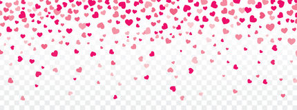 Fondo del biglietto di S. Valentino con i cuori che cadono su trasparente