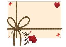 Fondo del biglietto di S. Valentino con la corda, il cuore, le farfalle e la rosa rossa Immagini Stock Libere da Diritti