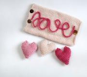 Fondo del biglietto di S. Valentino, cuore di amore, giorno di biglietti di S. Valentino, diy Fotografie Stock Libere da Diritti