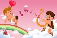 Fondo del biglietto di S. Valentino del cupido Fotografia Stock