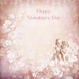 Fondo del biglietto di S. Valentino dell'annata con gli angeli Immagini Stock
