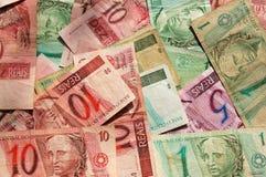 Fondo del billete de banco del Brasil Imagenes de archivo