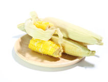 Fondo del blanco de la ebullición del maíz Fotografía de archivo libre de regalías