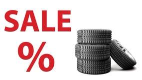 Fondo del blanco de la foto de la venta 3D del neumático foto de archivo libre de regalías