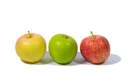 Fondo del blanco de la fruta tres de las manzanas de la fruta Foto de archivo