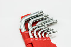 Fondo del blanco de la herramienta de la llave de hex. Fotografía de archivo libre de regalías