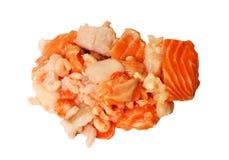 Fondo del blanco de la mezcla del chowder de los mariscos sin procesar Imagen de archivo