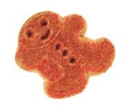 Fondo del blanco de la opinión superior de la galleta del pan de jengibre del muñeco de nieve de la Navidad Foto de archivo
