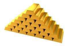 Fondo del blanco de la pirámide de las barras de oro Fotografía de archivo libre de regalías