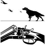 Fondo del blanco de la silueta del negro del pato del perro del rifle de la caza Foto de archivo