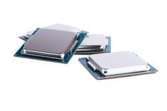 Fondo del blanco de los microprocesadores de procesador del ordenador Fotografía de archivo libre de regalías