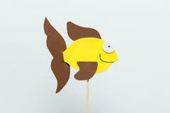 Fondo del blanco de los pescados del amarillo de la espuma de Eva Fotos de archivo libres de regalías
