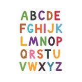 Fondo del blanco del alfabeto de la historieta del vector Diseño lindo del ABC para la cubierta de libro, cartel, tarjeta, impres Imágenes de archivo libres de regalías