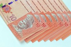 Fondo del blanco del billete de banco de Malasia Imagen de archivo