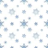 Fondo del blanco del color del cielo azul del modelo del copo de nieve Foto de archivo