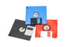 3 fondo del blanco del disquete 5-inch Fotos de archivo libres de regalías