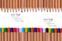 Fondo del blanco del lápiz del multicolor Foto de archivo libre de regalías