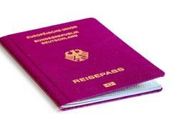 Fondo del blanco del pasaporte de Alemania Fotografía de archivo