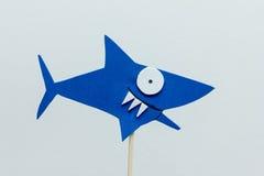 Fondo del blanco del tiburón azul de la espuma de Eva Foto de archivo