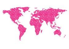 Fondo del blanco del modelo del pixel del rosa del vector del esquema del mapa del mundo libre illustration