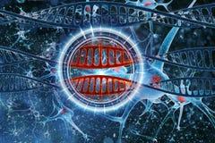 Fondo del blu del DNA Immagine Stock