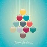 Fondo del blu della cordicella dell'albero delle palle di Natale Fotografie Stock Libere da Diritti