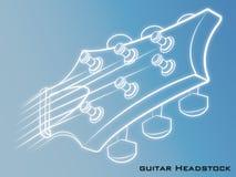 Fondo del blu della testa motrice della chitarra Fotografie Stock
