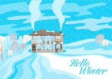 Fondo del blu di inverno paesaggio Illustrazione di inverno illustrazione di stock