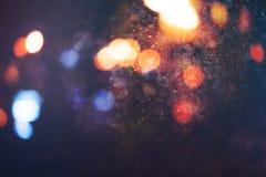 Fondo del bokeh de la falta de definición de la luz de la noche de la ciudad fotografía de archivo