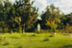 Fondo del bokeh del parco della città del paesaggio della sfuocatura dell'estratto bello con luce solare di giorno fotografie stock libere da diritti