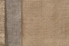 Fondo del bordo del panno di sacco del tessuto della tela da imballaggio, confine della tela di sacco fotografia stock