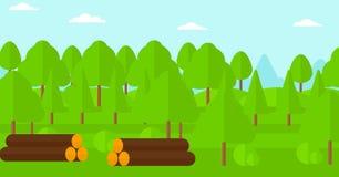 Fondo del bosque con las pilas de registros Imagen de archivo libre de regalías