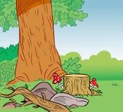 Fondo del bosque de la historieta ilustración del vector