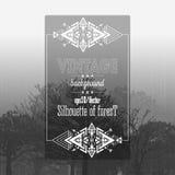Fondo del bosque del vintage con el marco tribal del estilo Imagenes de archivo
