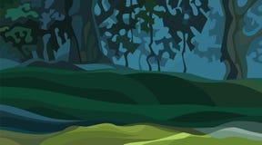 Fondo del bosque denso del verano del extracto de la historieta con las lomas ilustración del vector