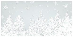 Fondo del bosque que nieva Árboles de navidad y copos de nieve en fondo azul Postal de la Navidad del vector y del Año Nuevo Imagen de archivo