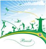 Fondo del Brasile con la bandiera Immagini Stock Libere da Diritti