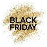Fondo del brillo del oro con la inscripción de Black Friday Imagenes de archivo