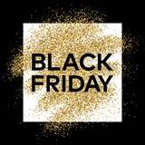 Fondo del brillo del oro con la inscripción de Black Friday Fotos de archivo libres de regalías